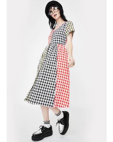 Mixed Gingham Checkered Midi Dress