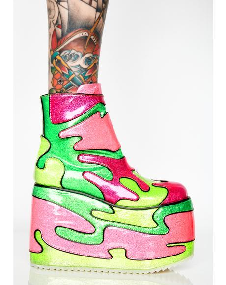 Radioactive Baddie Platform Boots