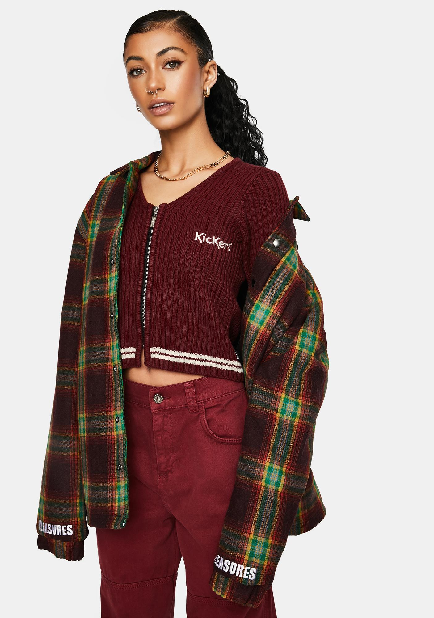 Kickers Burgundy Fitted Zip Up Knit Tee