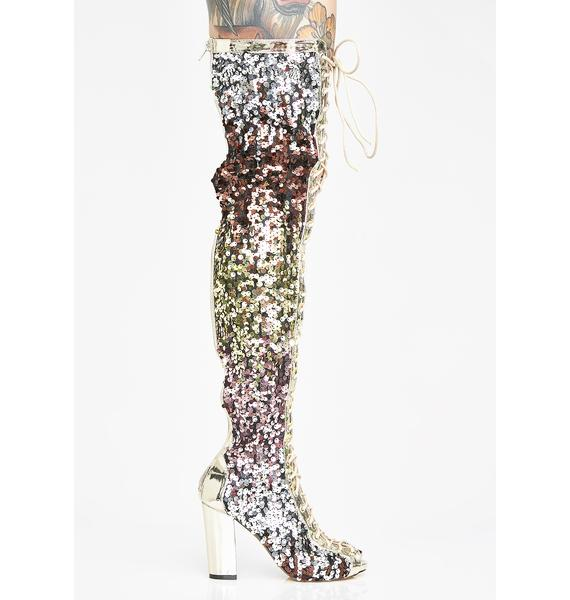 Brilliant Shine Sequin Thigh Highs