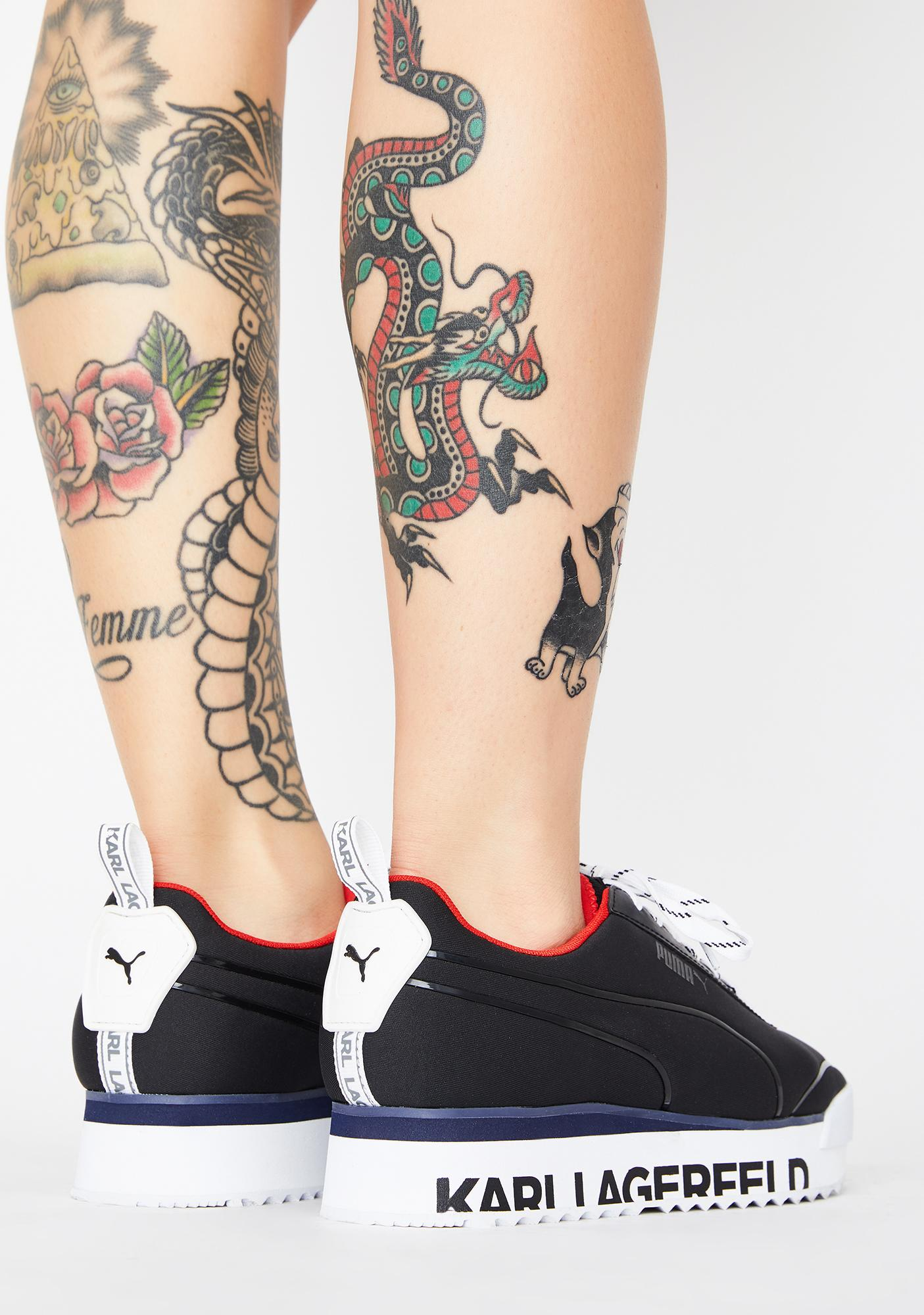 PUMA X Karl Lagerfeld Black Roma Amor Platform Sneakers