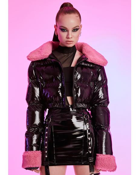 Manifesting Money Crop Puffer Jacket