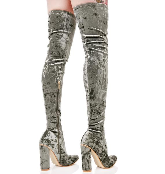 Moss Planetary Thigh-High Boots