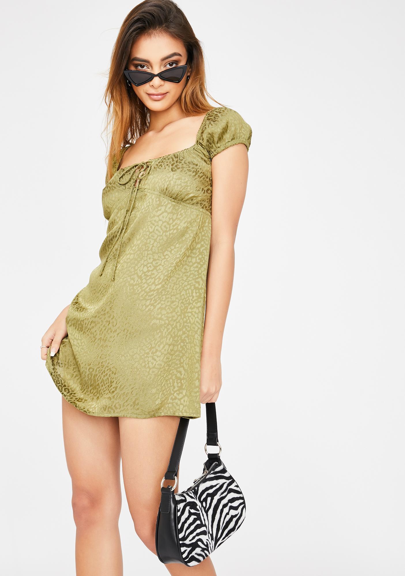 Motel Khaki Cheetah Gaval Dress
