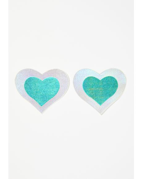 Aqua Heart Holographic Pasties