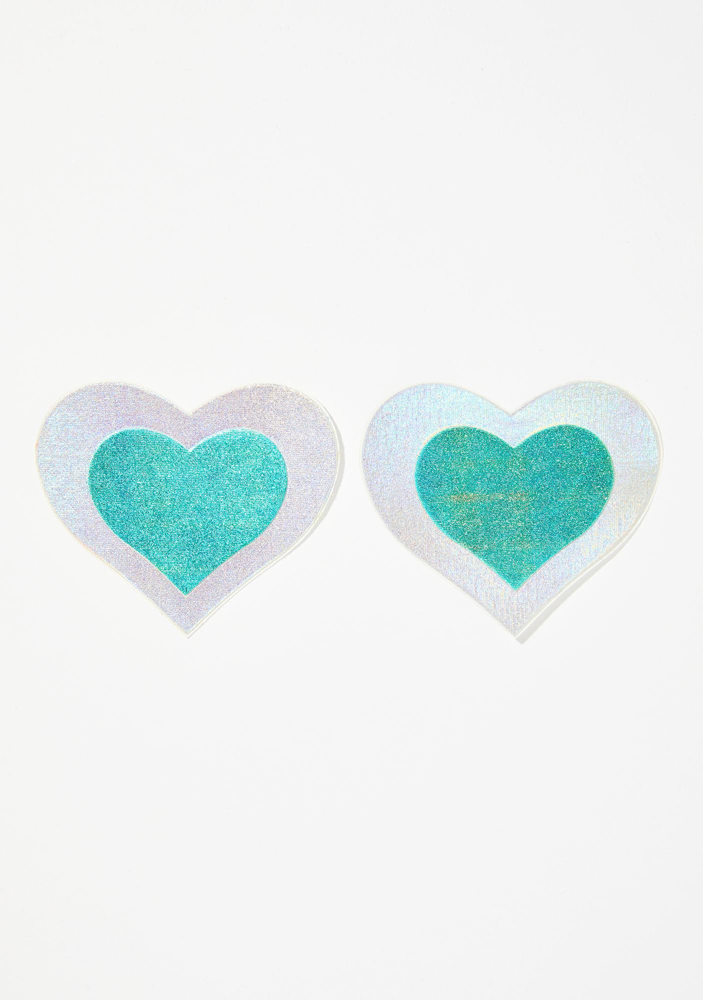 Pastease Aqua Heart Holographic Pasties