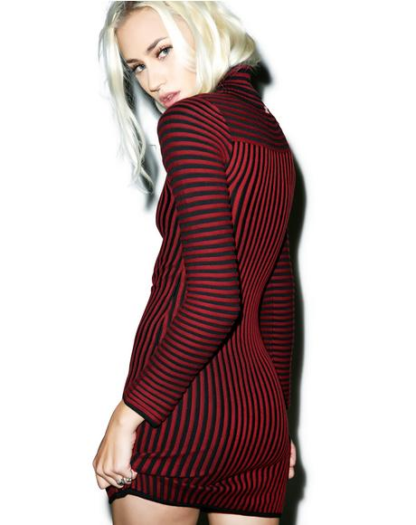 Switch Stripe Turtleneck Dress