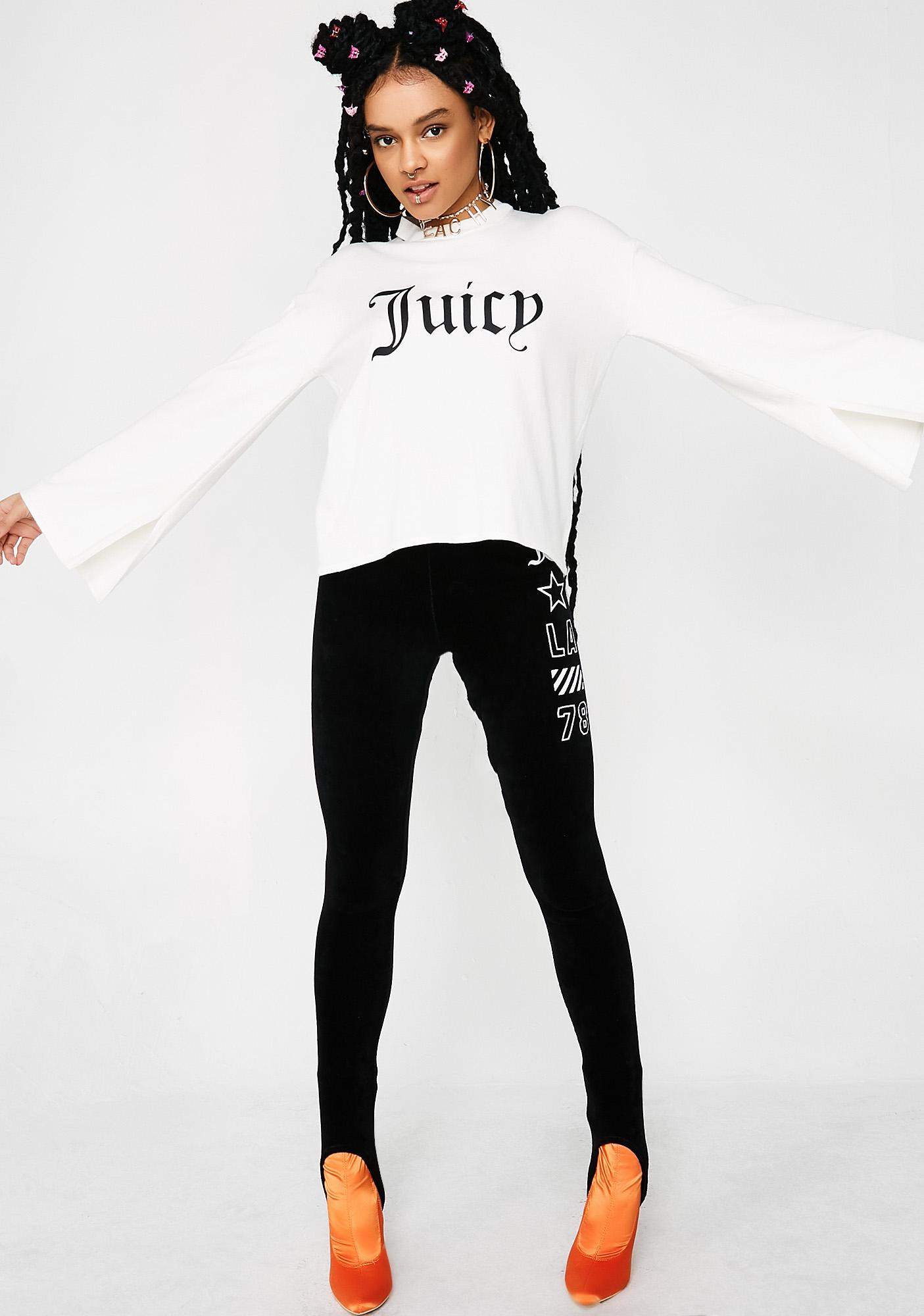 JUICY COUTURE Gothic Logo Split Sleeve Sweater