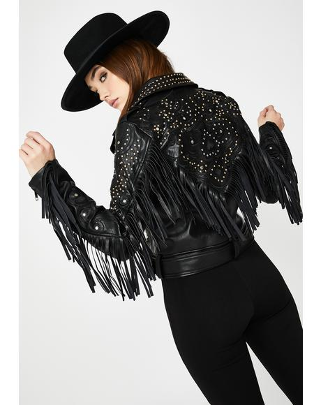 Studded Fringe Faux Leather Jacket
