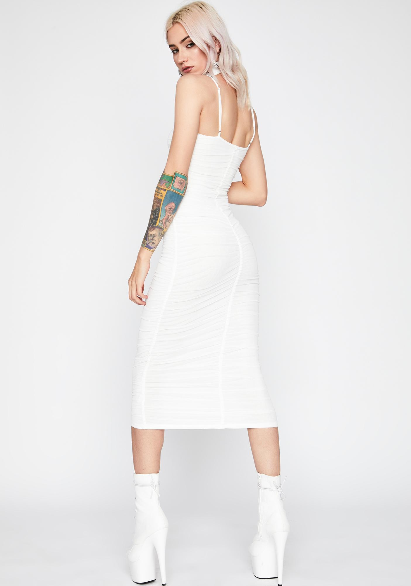 Legally Angelic Ruched Midi Dress