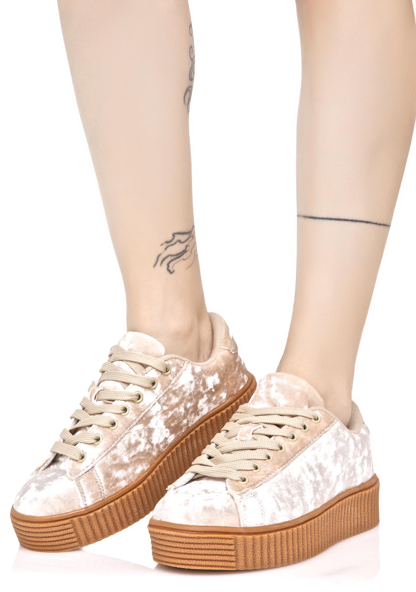 Off White Crushed Velvet Creeper Sneaker