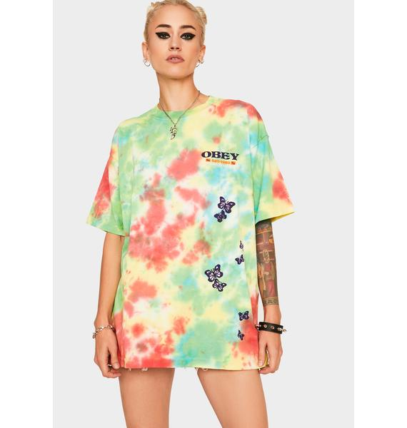 Obey To The Children Tie Dye Graphic Tee