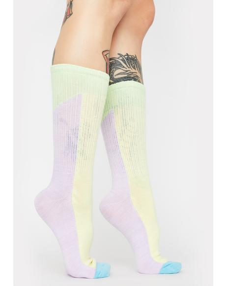 Pastel Patch Crew Socks