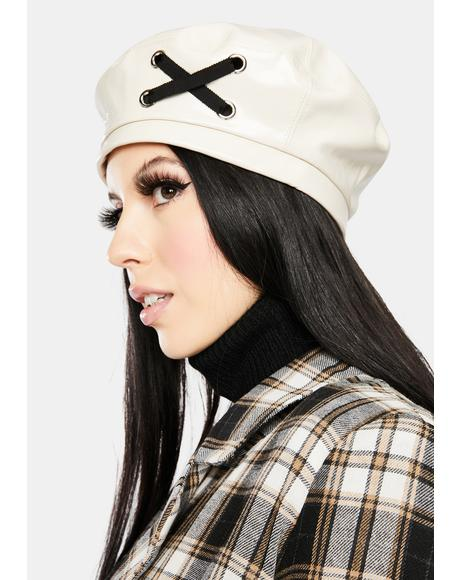 Ivory I'm Bad News Patent Beret