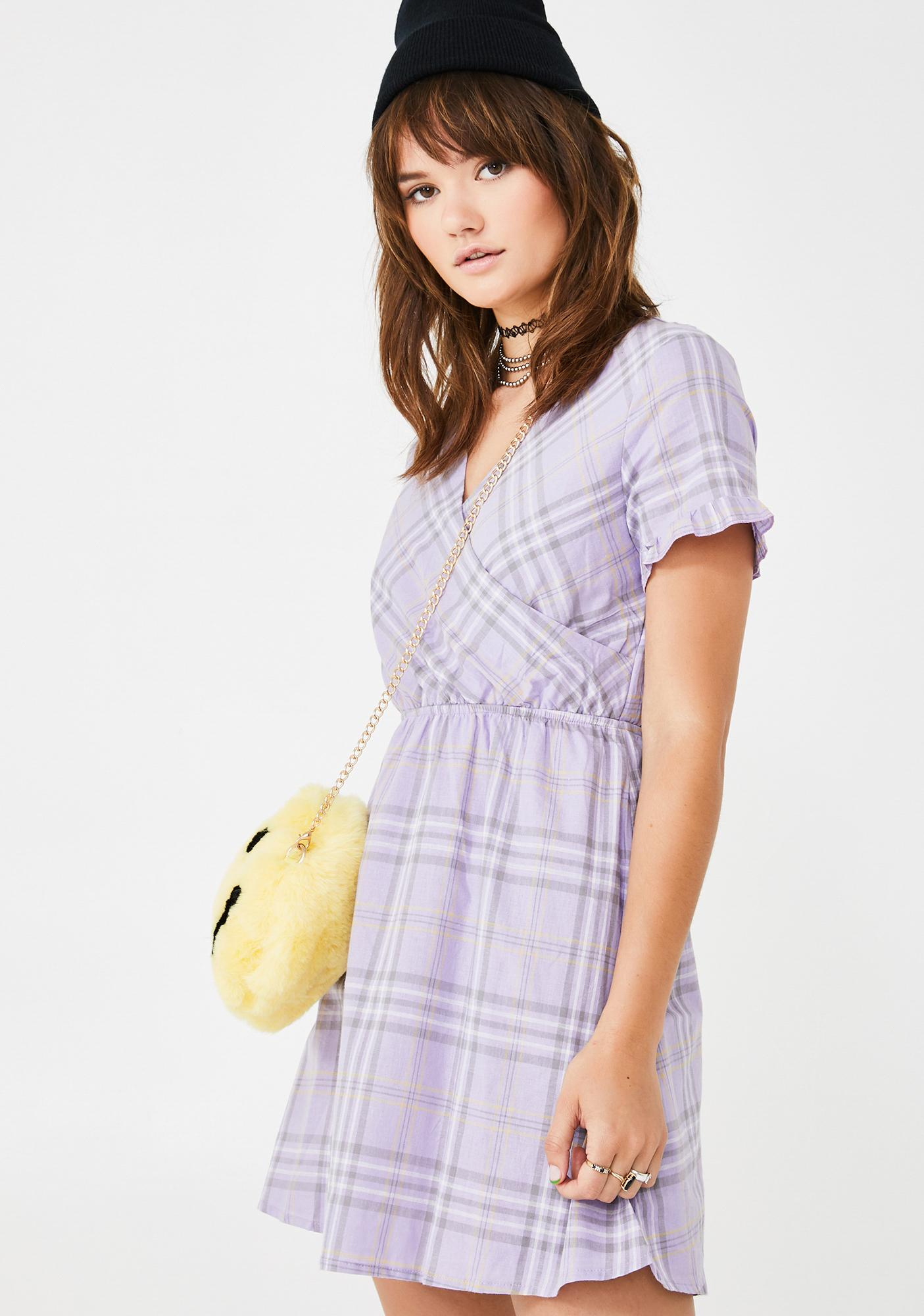 Daisy Street Check Print Wrap Dress