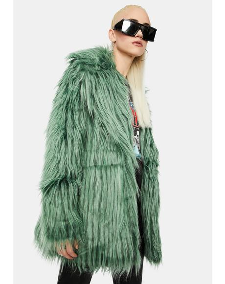 Green Shaggy Faux Fur Coat