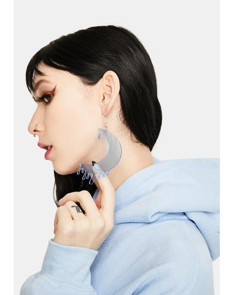 Blue Drippy Moon Face Earrings