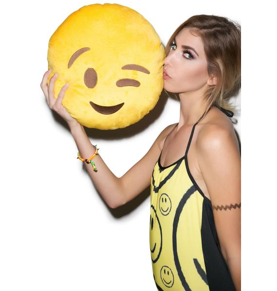 Wink Emoji Pillow
