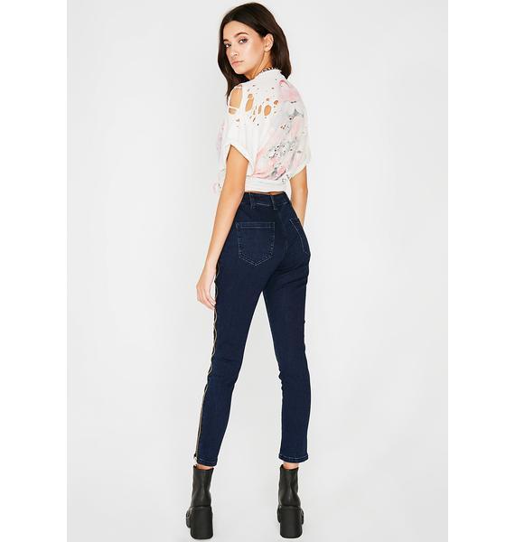 Zip Down Denim Jeans