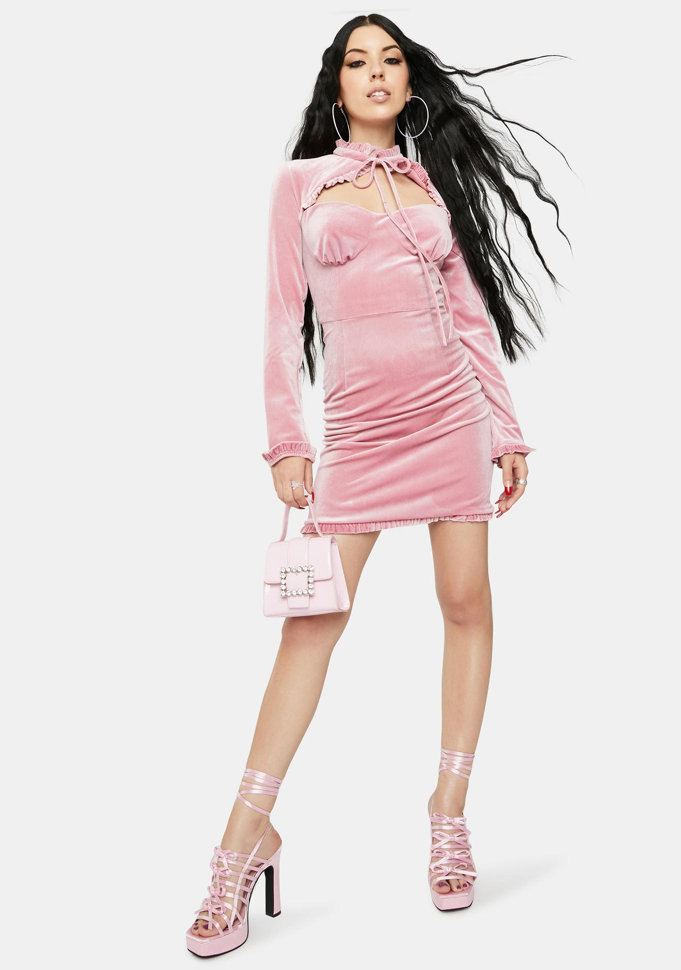 Glamorous Rose Velvet Ruched Mini Dress