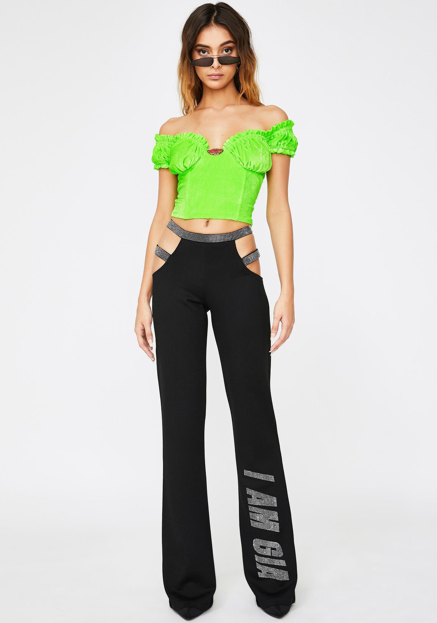 O Mighty Neon Green Velvet Rose Top