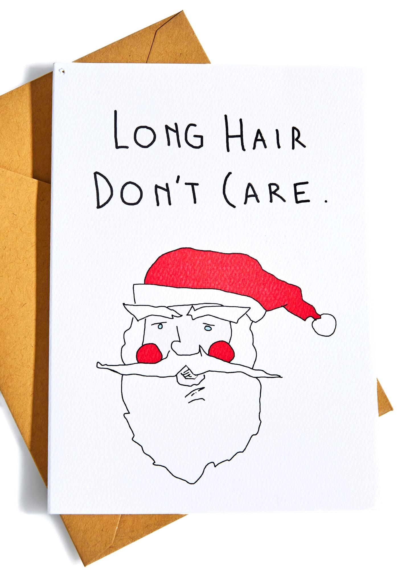Long Hair Don't Care Christmas Card