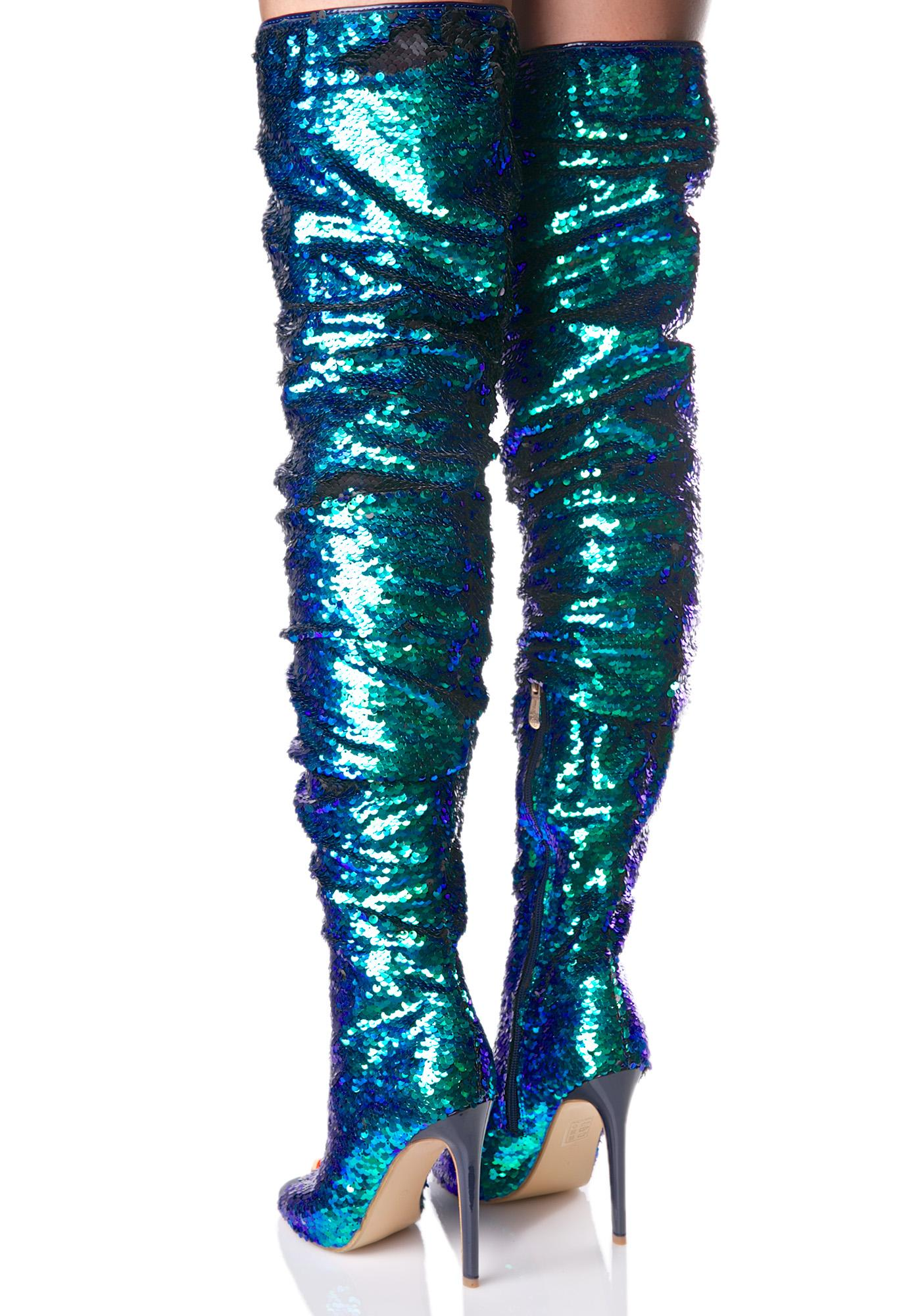 Sequin Thigh High Boot | Dolls Kill