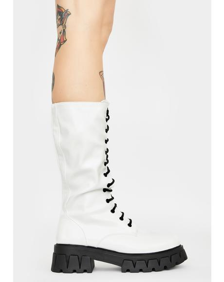 White Trinity Patent Calf High Boots