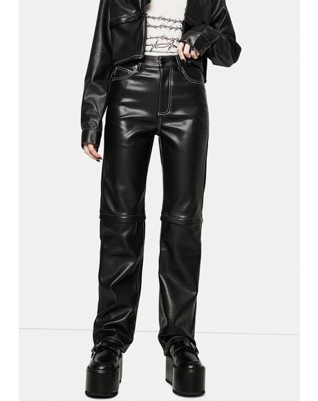 Detach Vegan Leather Trousers