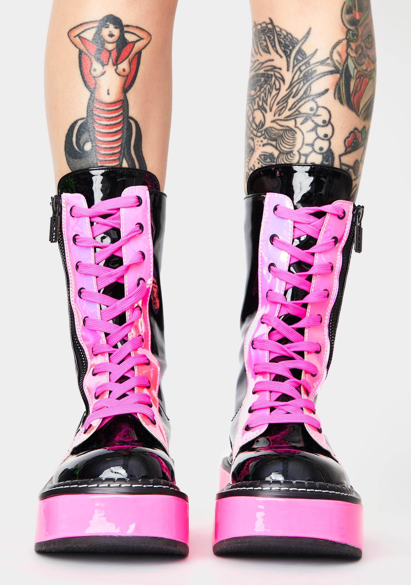 Demonia Candy Electric Fusion UV Platform Boots