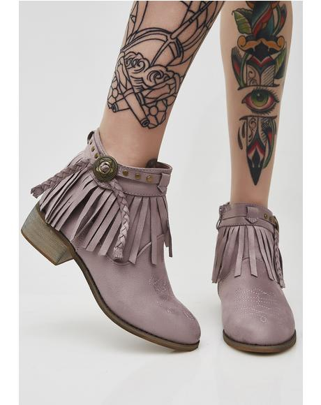 Lavender Last Showdown Fringe Booties