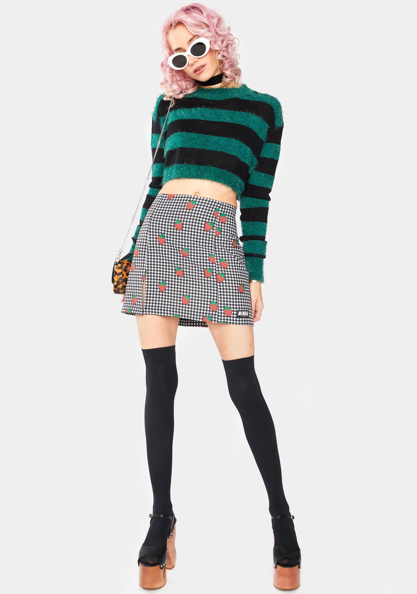 Minga Strawberry Girl Gingham Mini Skirt