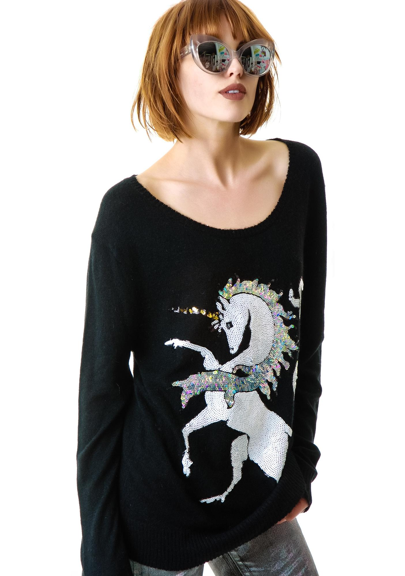 Wildfox Couture Unicorn Crew Neck Sweater