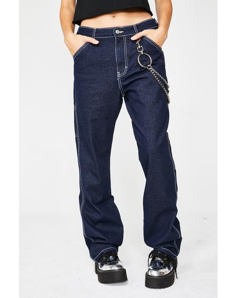 Dark Denim Wash Carpenter Jeans