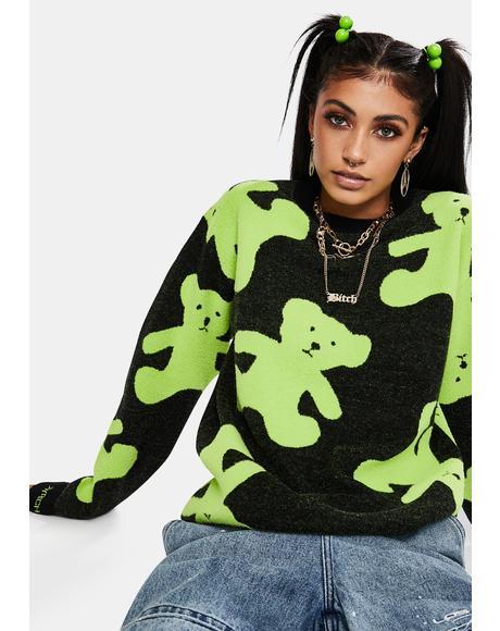 Lime Green Teddy Crewneck Pullover