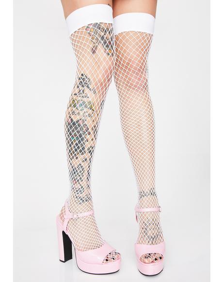 Popular Posse Fishnet Thigh Highs