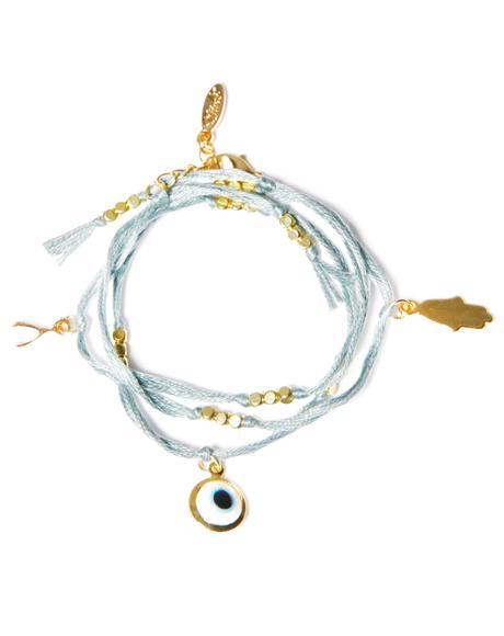 Evil Eye Hamsa Charm Wrap Bracelet