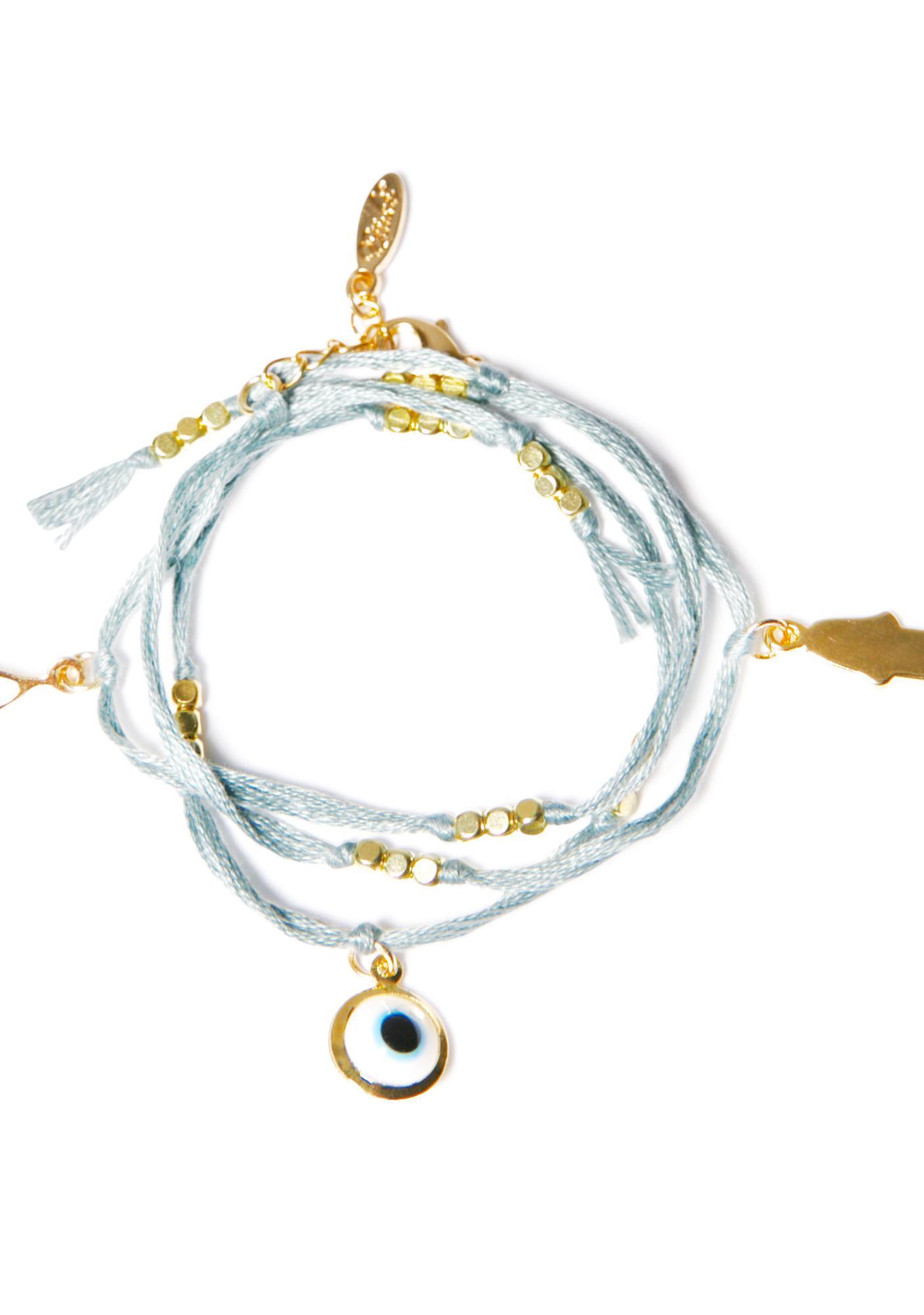 Ettika Evil Eye Hamsa Charm Wrap Bracelet