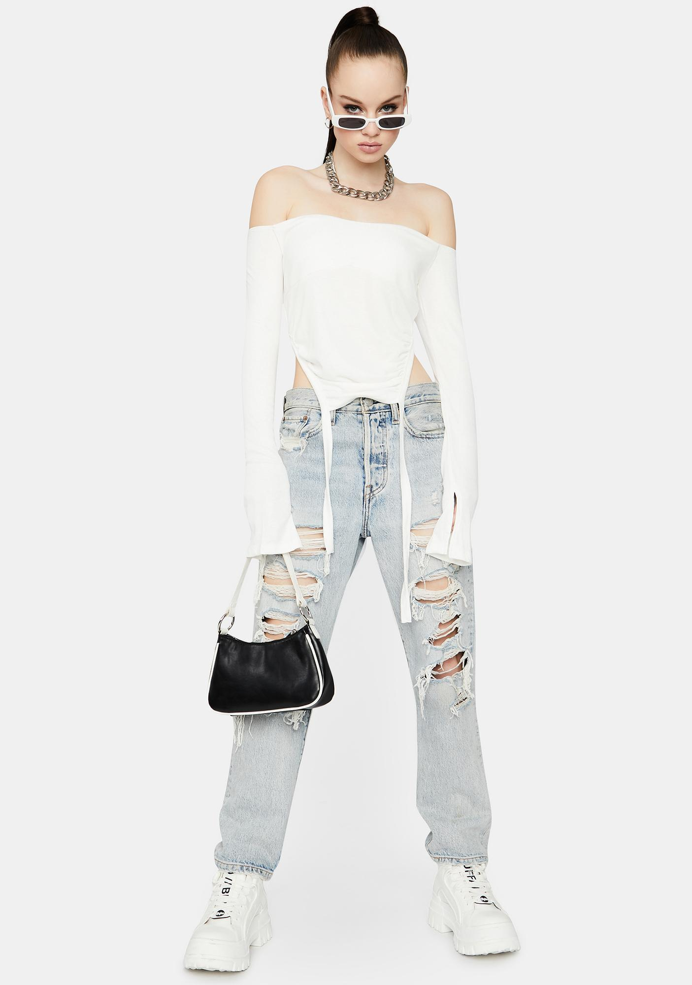 Ivory To The Top Ruched Crop Top