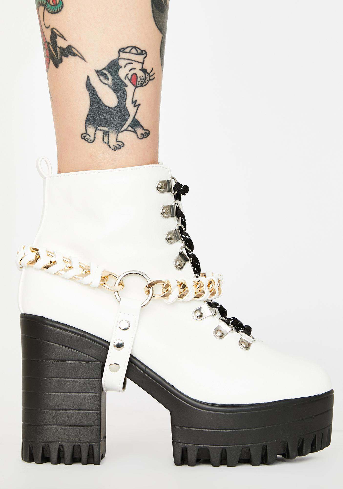 Public Desire White Bribe Platform Boots
