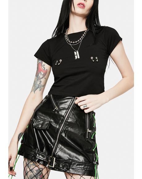 Biker Black Vegan Leather Mini Skirt