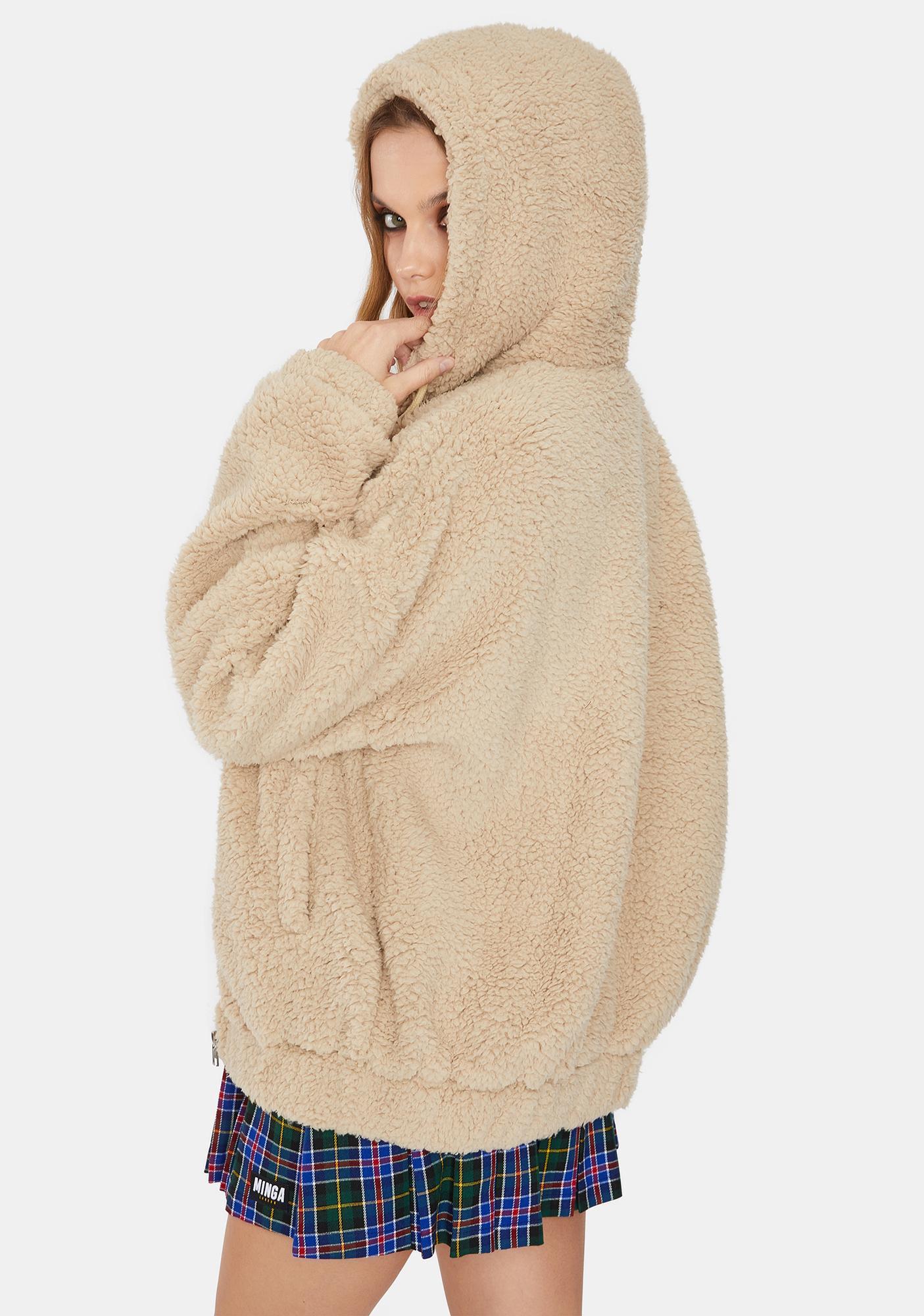 Daisy Street Tan Hooded Sherpa Jacket