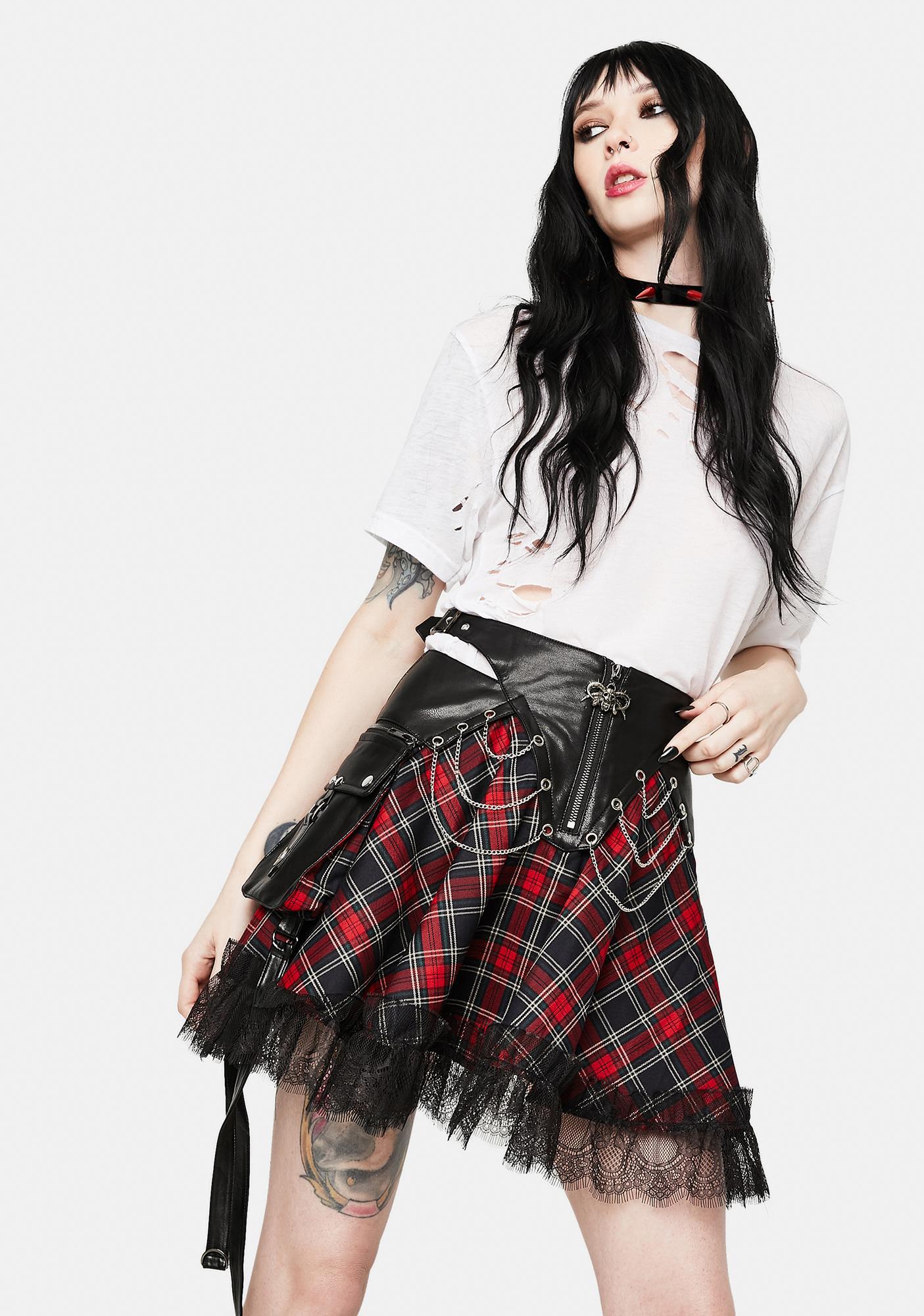 Devil Fashion Plaid Tulle Mini Skirt