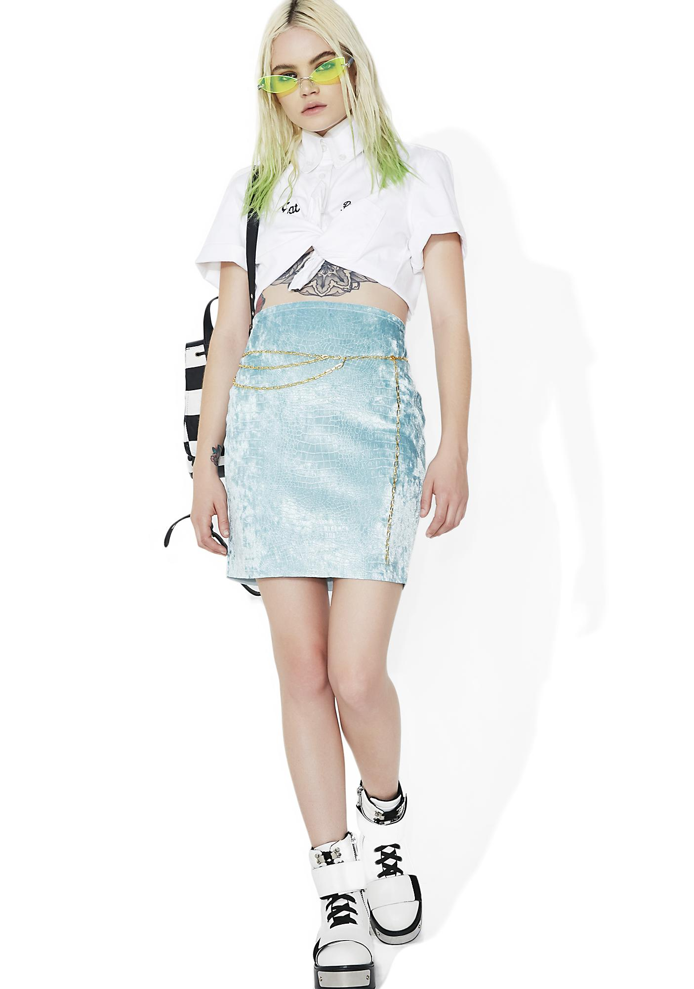Sicko Cartel Ice Blue Croc Skirt
