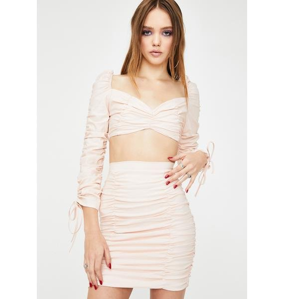 ZEMETA Whip Cream Ruched Skirt Set
