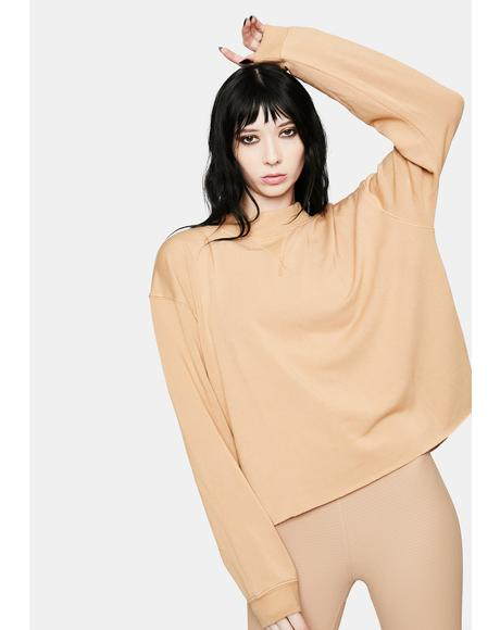 Tan Mock Neck Sweatshirt