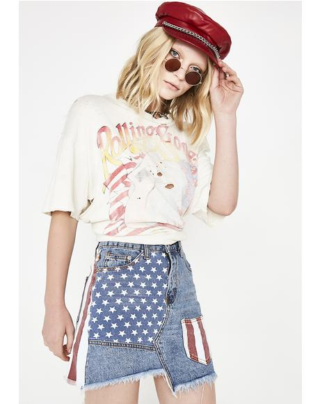 America The Beautiful Denim Skirt