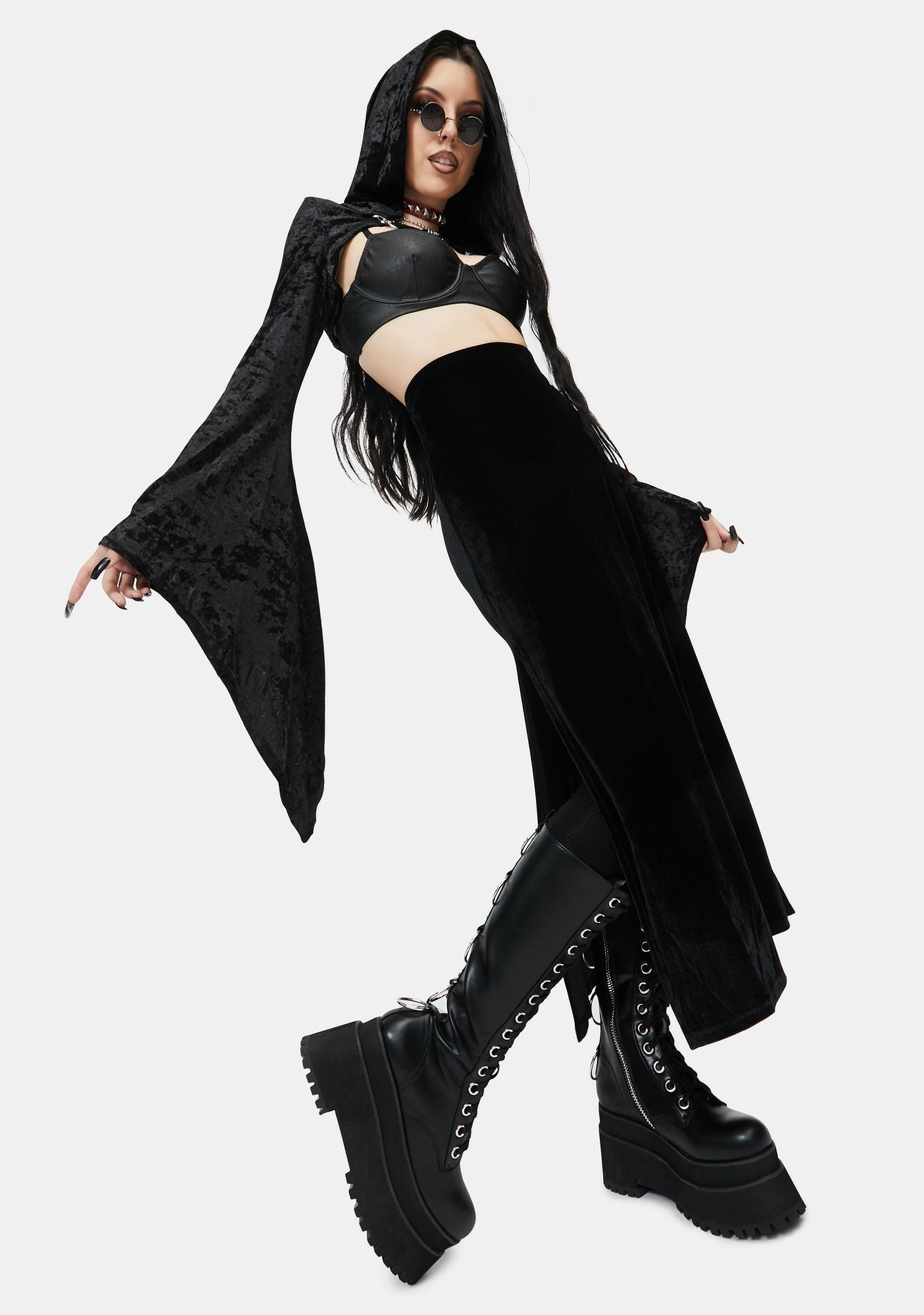 Dark In Love Cropped Hooded Lace Cape