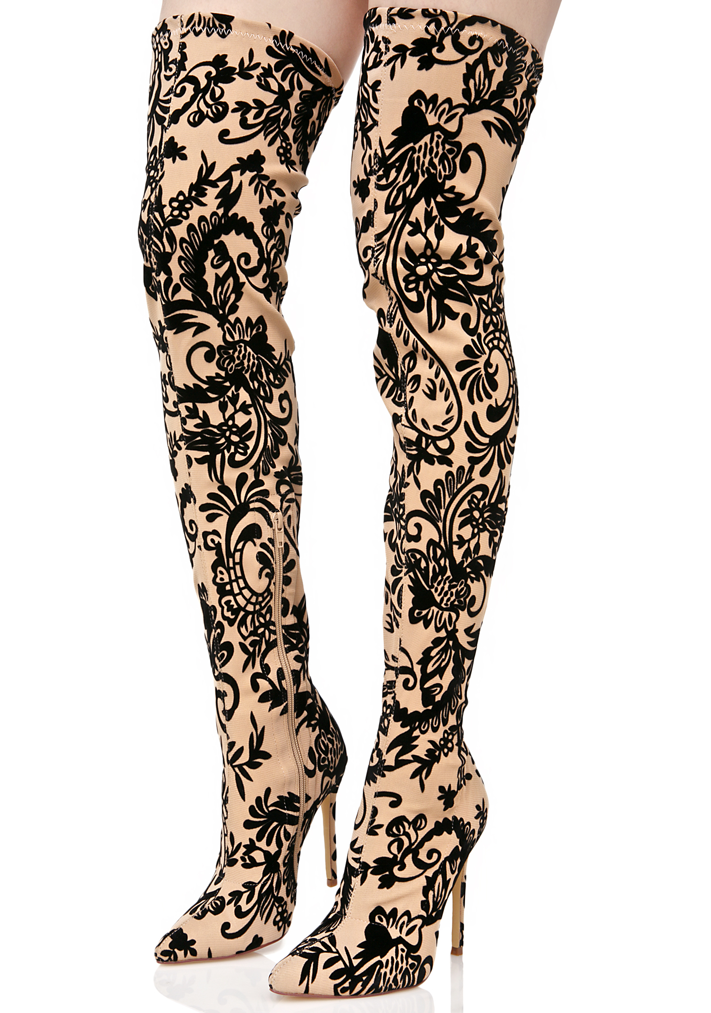 Ornate Velvet Nude Thigh High Boots
