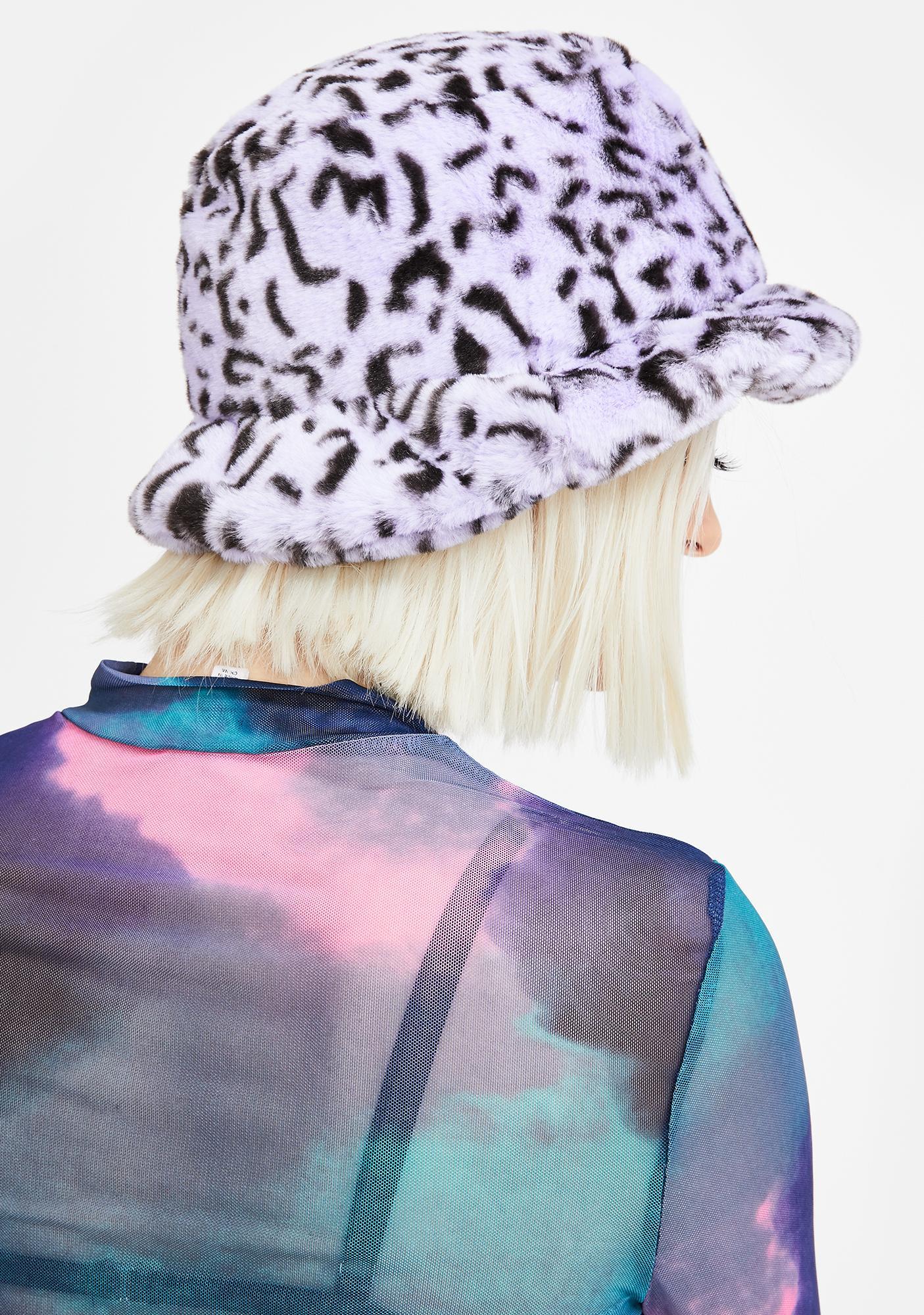 Glitter Disco Child Lilac Leopard Fuzzy Bucket Hat